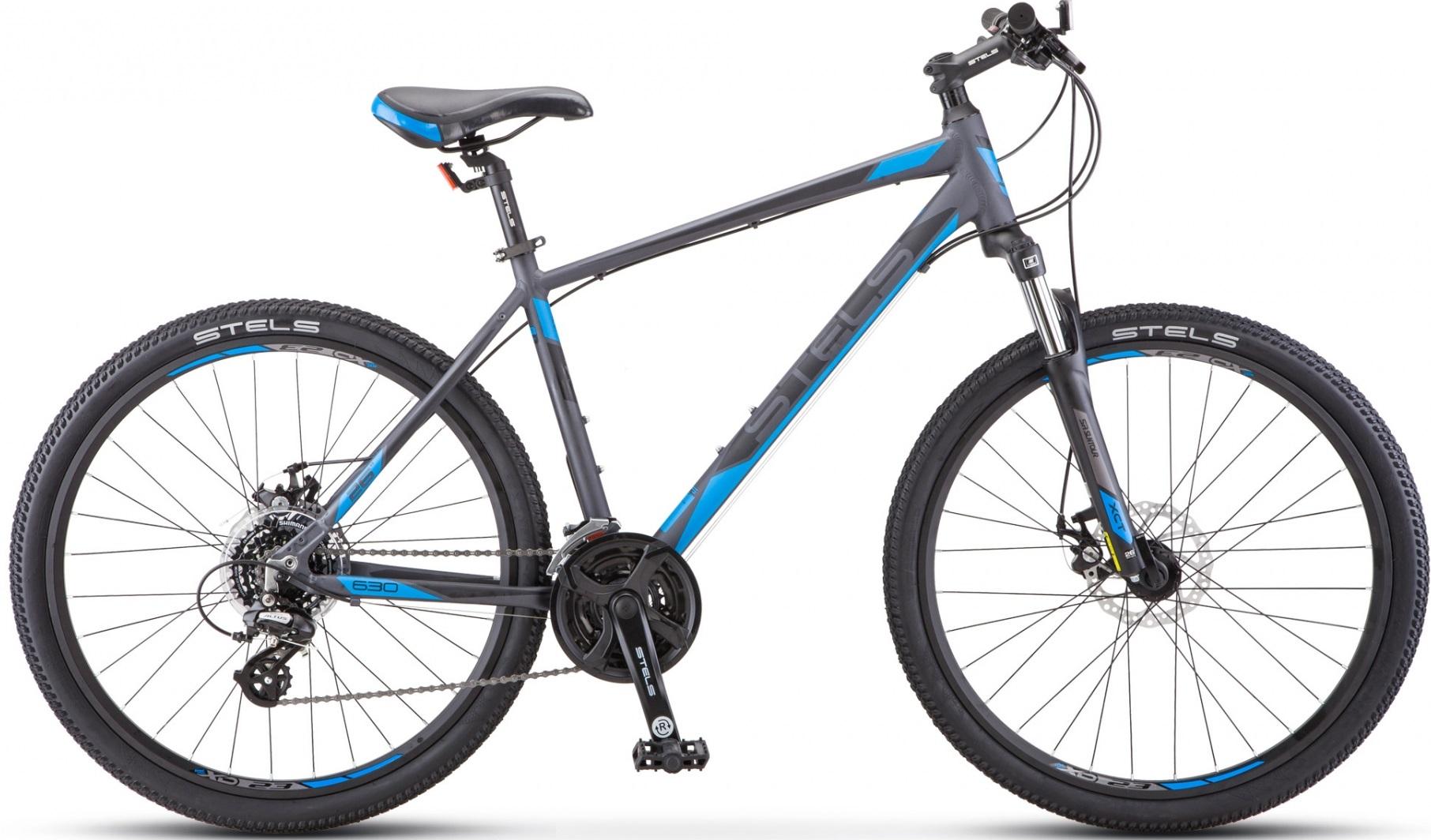 """Велосипед Stels Navigator 630 MD K010 антрацитовый/синий 26""""/20"""""""