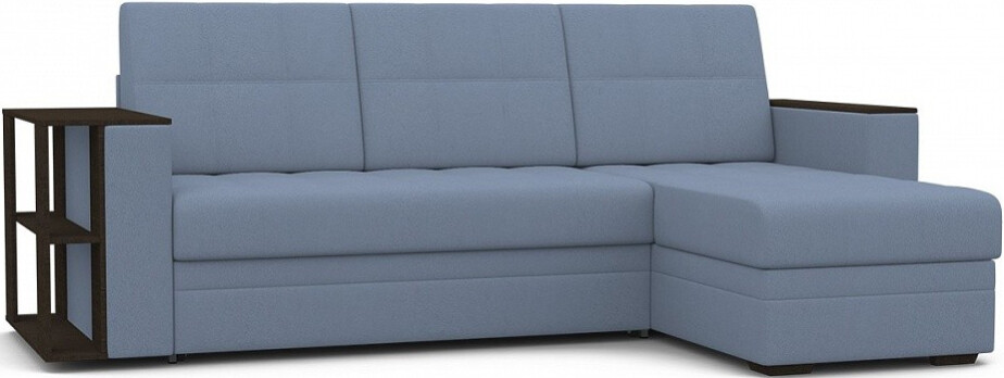Диван-кровать Цвет Диванов Атланта Next угловой со столиком темно-голубой 246x150x95 см (Prince 11)
