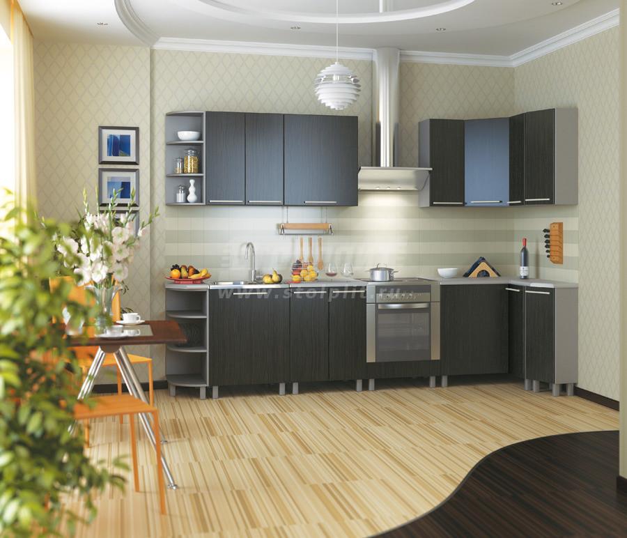 Кухня Столплит Анна алюминий/венге 297x117 см (экспозиция 25)