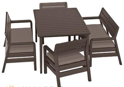 Комплект мебели Allibert Delano With Lima Table 160 коричневый/серый/бежевый