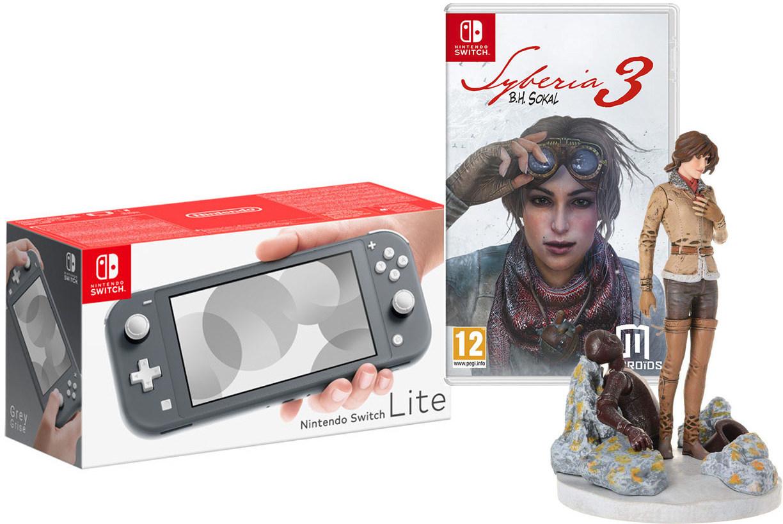 Игровая приставка Nintendo Switch Lite Grey + Сибирь 3 + фигурка Кейт