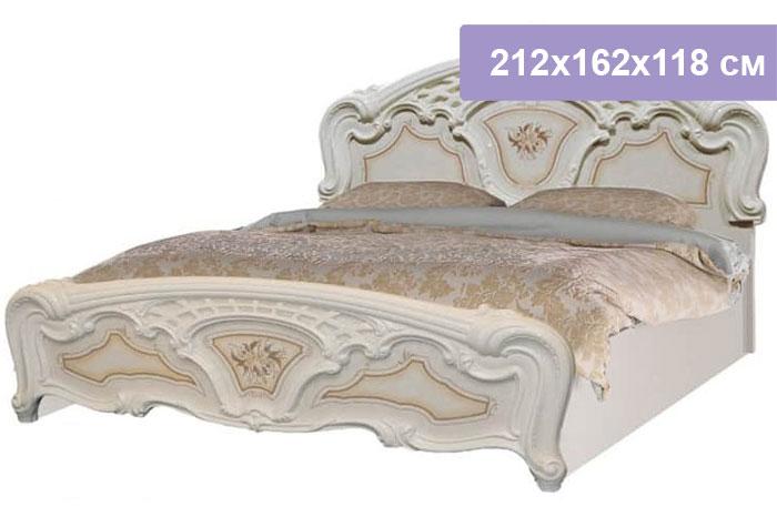 Двуспальная кровать Интердизайн Роза бежевый/бежевый 212x162x118 см (ортопедическое основание)
