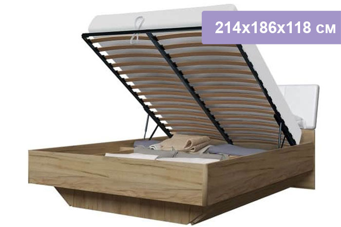 Двуспальная кровать Интердизайн Тоскано дуб крафт/белый 214x186x118 см (подъемный механизм)