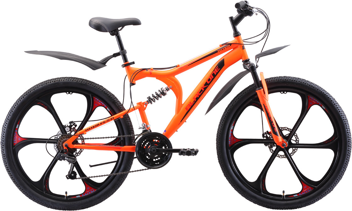 """Велосипед Black One Totem FS 26 D FW (2020) неоновый оранжевый/красный/чёрный 26""""/18"""""""
