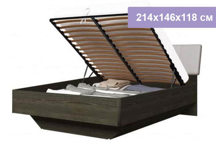 Двуспальная кровать Интердизайн Тоскано ясень темный/капучино 214x146x118 см (подъемный механизм)