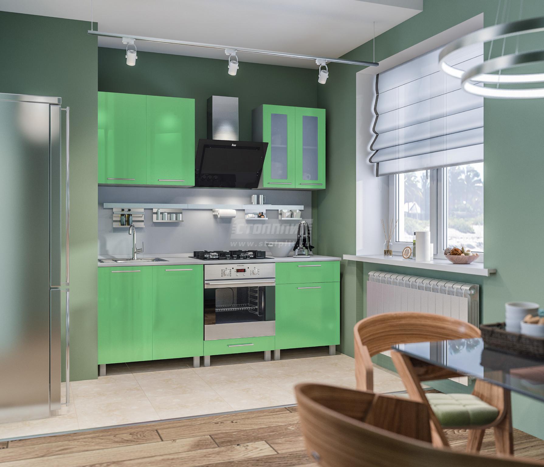 Кухня Столплит Анна L-2000 алюминий/эвкалипт глянец 200x214x60 см