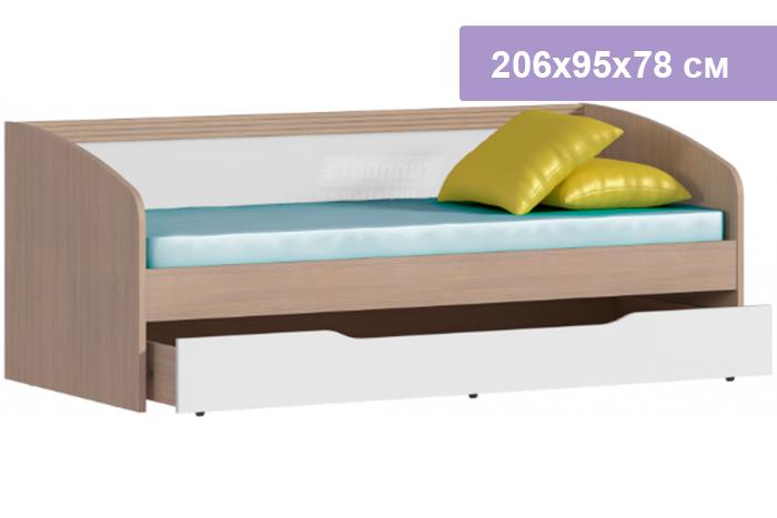Односпальная кровать Столплит Дакота 012-093-000-1400 сосна авола шампань/белый глянец 206x95x78 см