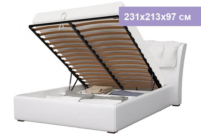 Двуспальная кровать Интердизайн Моника белый/белый 231x213x97 см (подъемный механизм)
