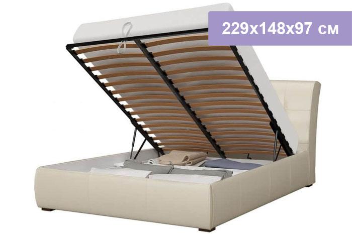 Двуспальная кровать Интердизайн Бьянка бежевый/бежевый 229x148x97 см (подъемный механизм)