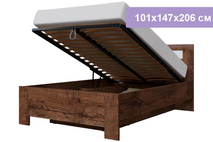 Полутороспальная кровать Интердизайн Тоскано Лайт темно-коричневый/белый 101x147x206 см (подъемный механизм)