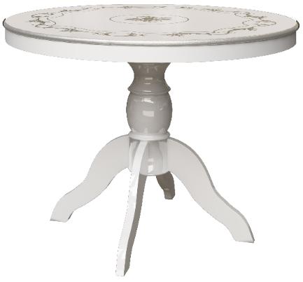 Кухонный стол Интердизайн Роза белый/се…