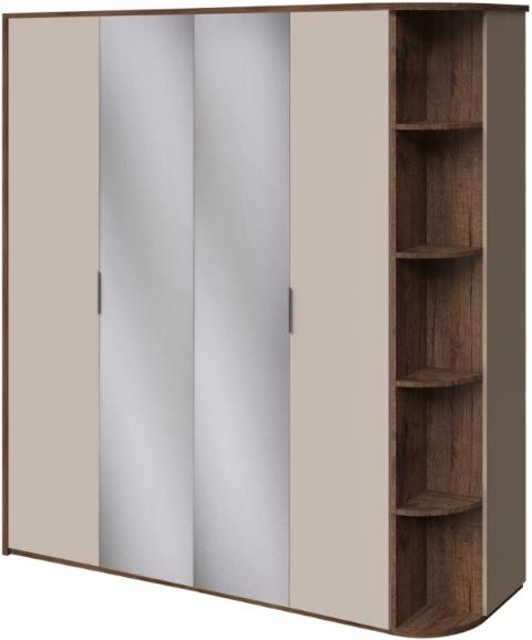 Шкаф Интердизайн Тоскано темно-коричневый/коричневый 221x207x60 см  32.36.OaC (зеркала, стеллаж)