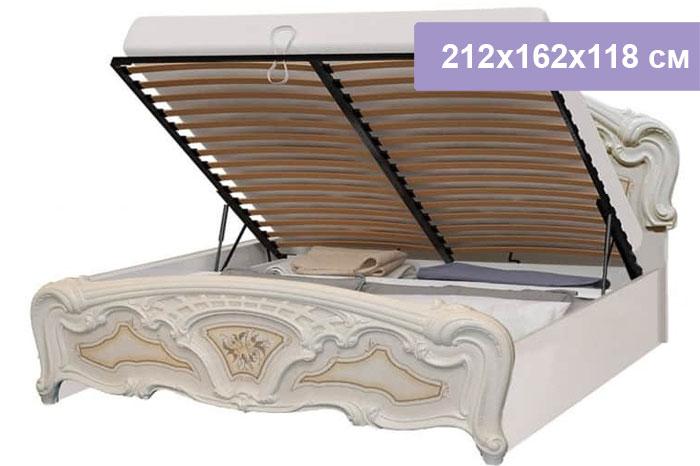 Двуспальная кровать Интердизайн Роза бежевый/бежевый 212x162x118 см (подъемный механизм)