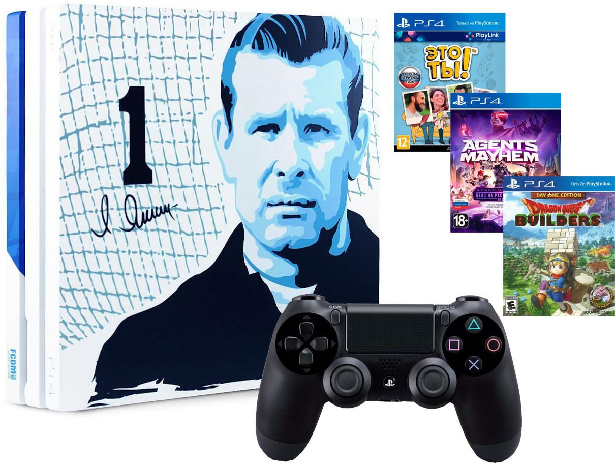 Игровая приставка Sony PlayStation 4 Pro 1Tb Динамо Черный паук + Sony DualShock 4 v2 Black + 3 игры