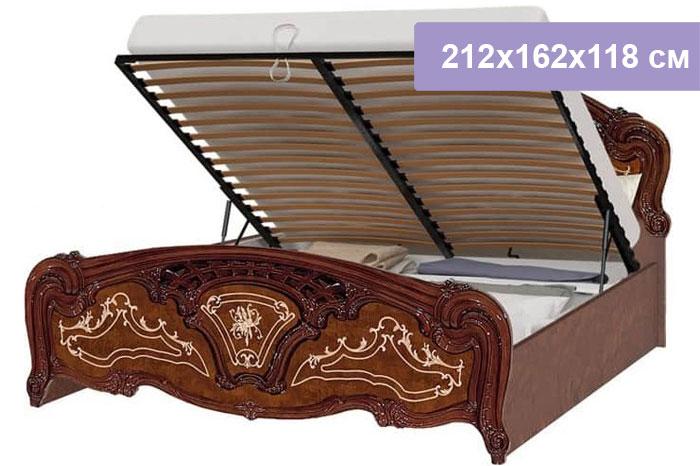 Двуспальная кровать Интердизайн Роза коричневый/коричневый 212x162x118 см (подъемный механизм)