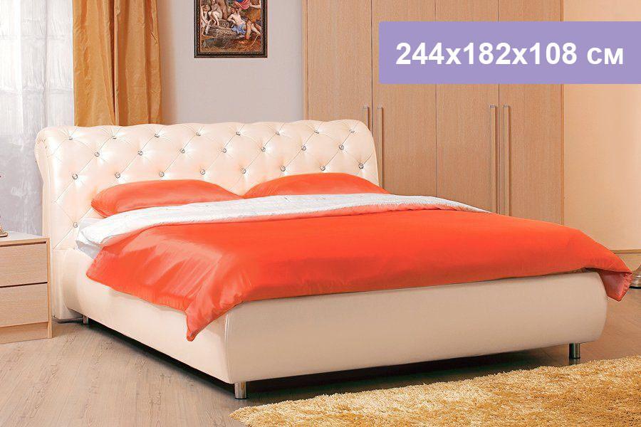 Двуспальная кровать Цвет Диванов Брисбен перламутровый 244x182x108 см