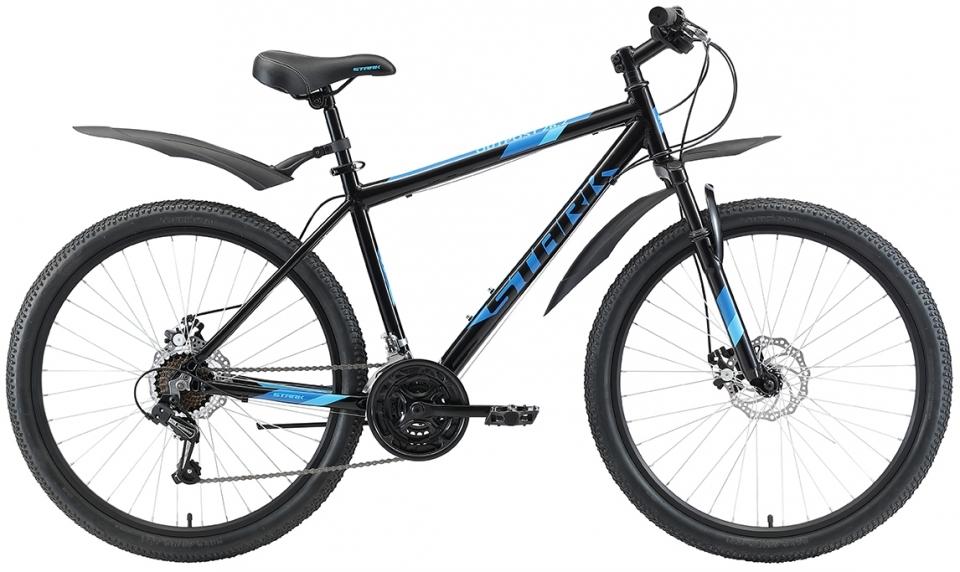 """Велосипед Stark Outpost 26.2 D (2020) черный/голубой 26""""/16"""""""