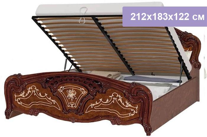 Двуспальная кровать Интердизайн Роза коричневый/коричневый 212x183x122 см (подъемный механизм)
