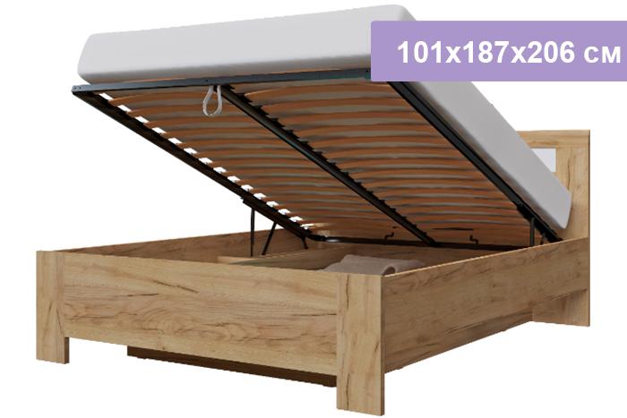 Двуспальная кровать Интердизайн Тоскано Лайт дуб крафт/белый 101x187x206 см  (подъемный механизм)