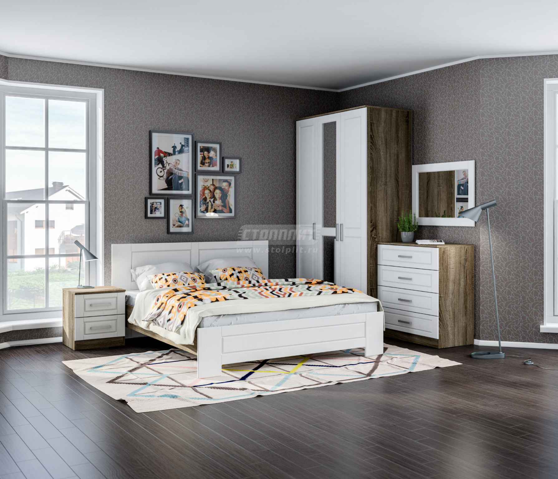 Спальня Столплит Илона 426-677-273-7170 дуб сонома трюфель/сандал белый