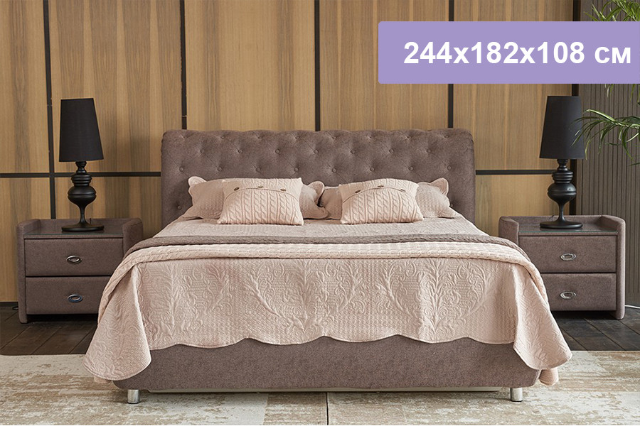 Двуспальная кровать Цвет Диванов Брисбен капучино 244x182x108 см