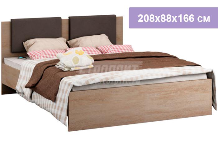 Двуспальная кровать Столплит Веста СБ-2689 дуб сонома 208x88x166 см