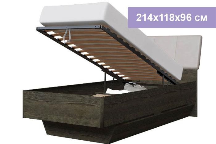 Односпальная кровать Интердизайн Тоскано 32.66.0.AdW ясень т./белый 214x118x96 см (подъемный механизм)