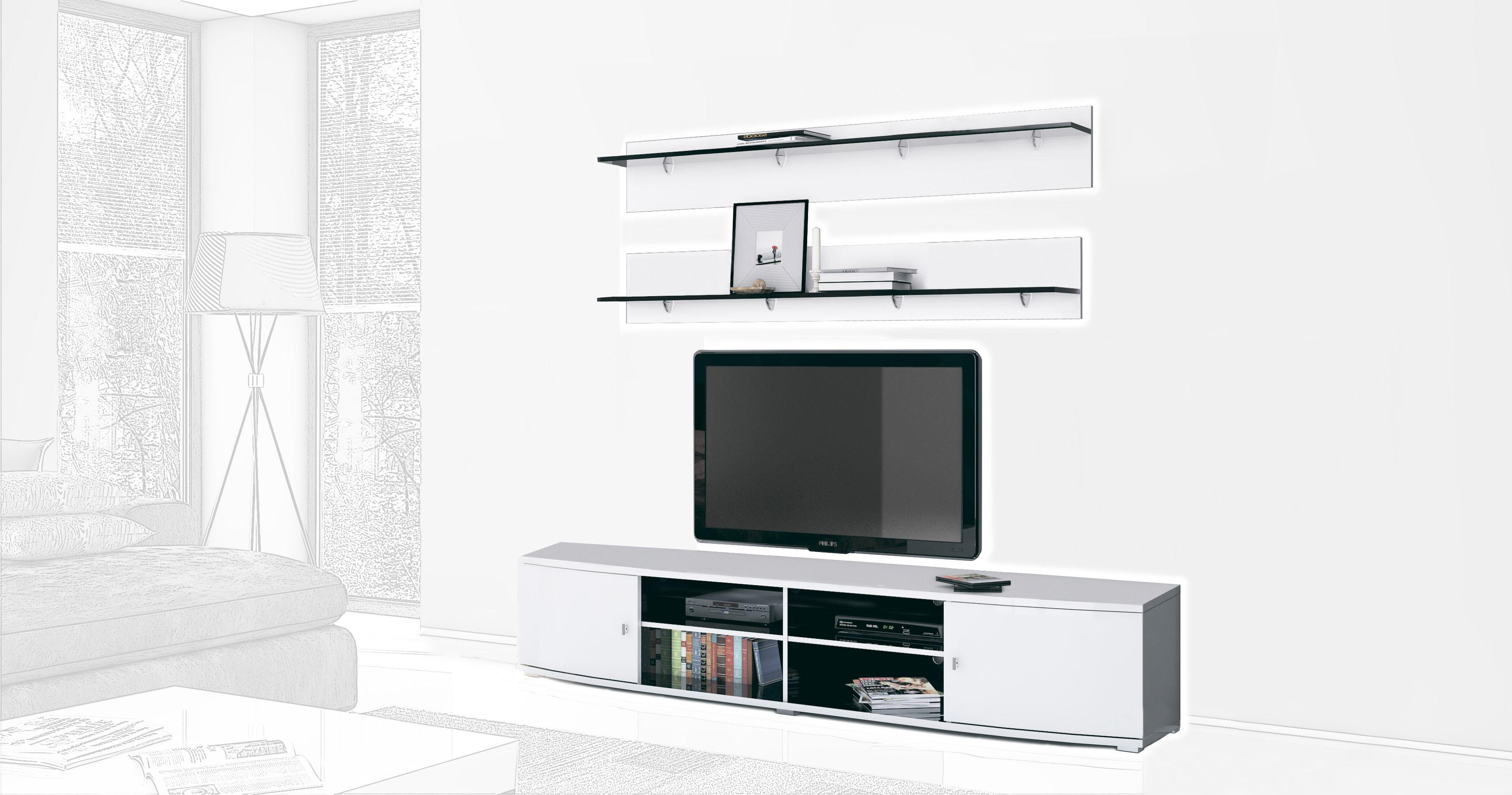 Стенка Интердизайн Монако черный/белый 55x208x42 см (композиция 1)