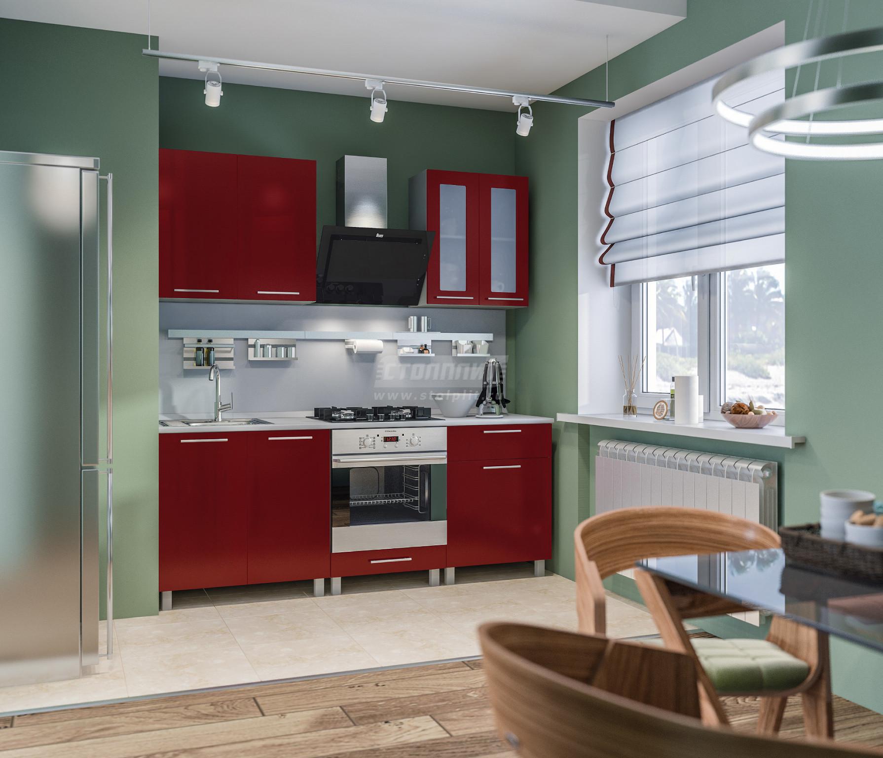 Кухня Столплит Анна L-2000 алюминий/рубин глянец 200x214x60 см