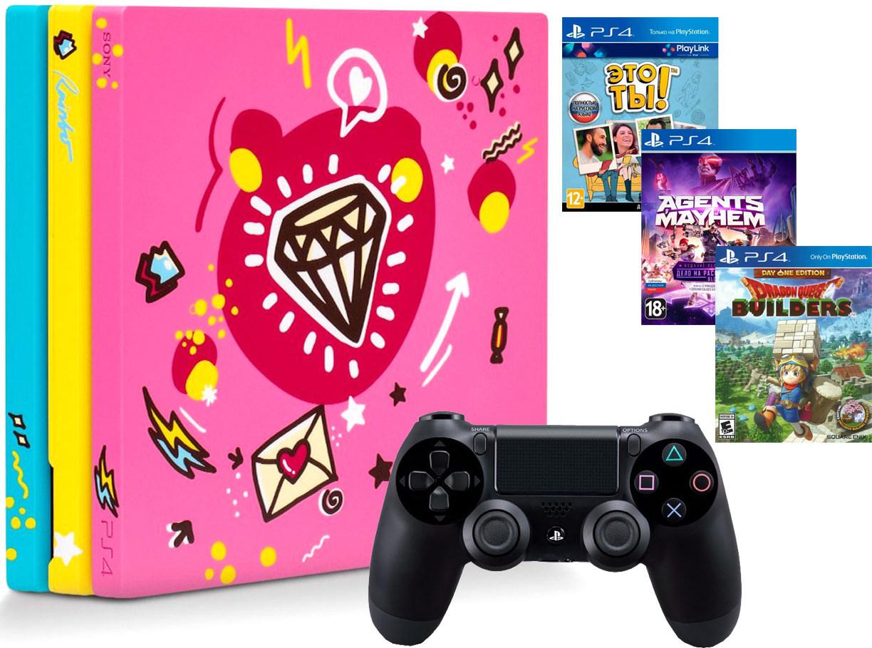 Игровая приставка Sony PlayStation 4 Pro 1Tb Sweet + Sony DualShock 4 v2 Black + 3 игры