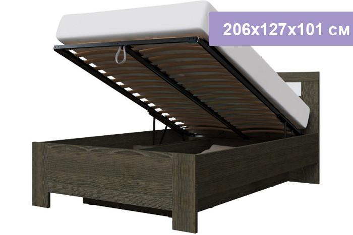 Двуспальная кровать Интердизайн Тоскано Лайт ясень темный/белый 206x127x101 см (подъемный механизм)