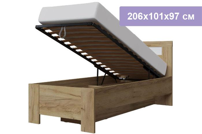 Односпальная кровать Интердизайн Тоскано Лайт дуб крафт/белый 206x101x97 см (подъемный механизм)