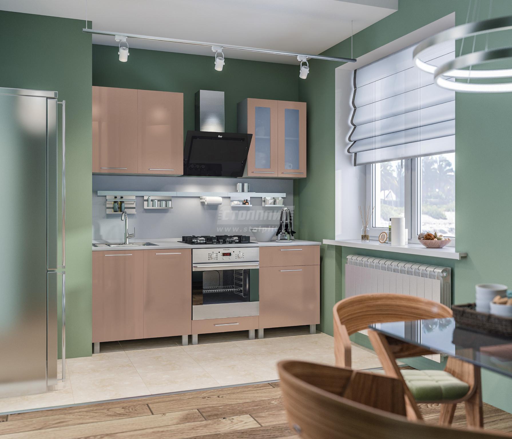 Кухня Столплит Анна L-2000 алюминий/капучино глянец 200x214x60 см