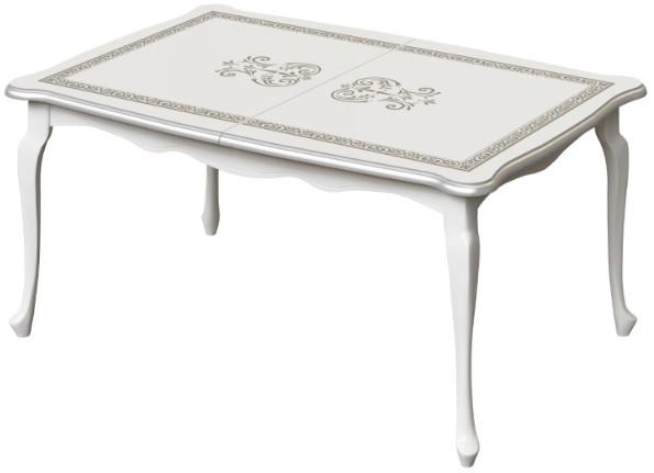 Кухонный стол Интердизайн Винтаж белый/белый 774x2050x950 см (с рисунком)