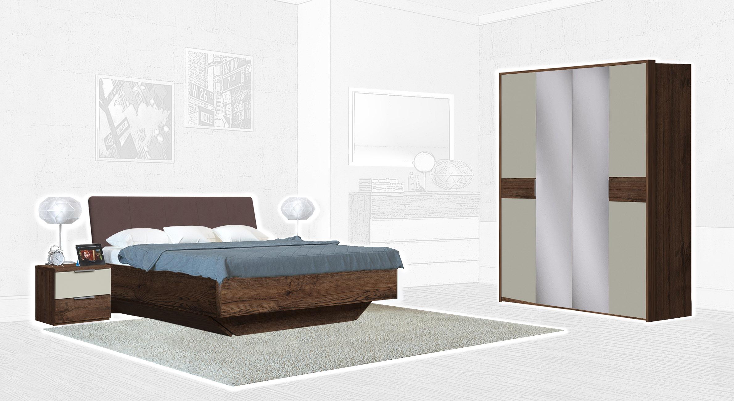 Спальня Интердизайн Тоскано темно-коричневый/бежевый (композиция 2)