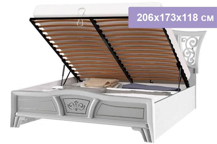 Двуспальная кровать Интердизайн Винтаж белый/белый 206x173x118 см (подъемный механизм)