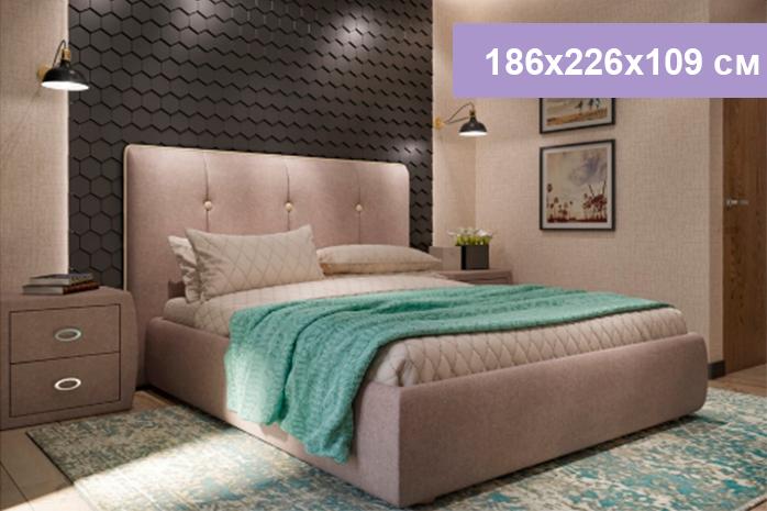 Двуспальная кровать Цвет Диванов Вивьен песочно-серый 186x226x109 см