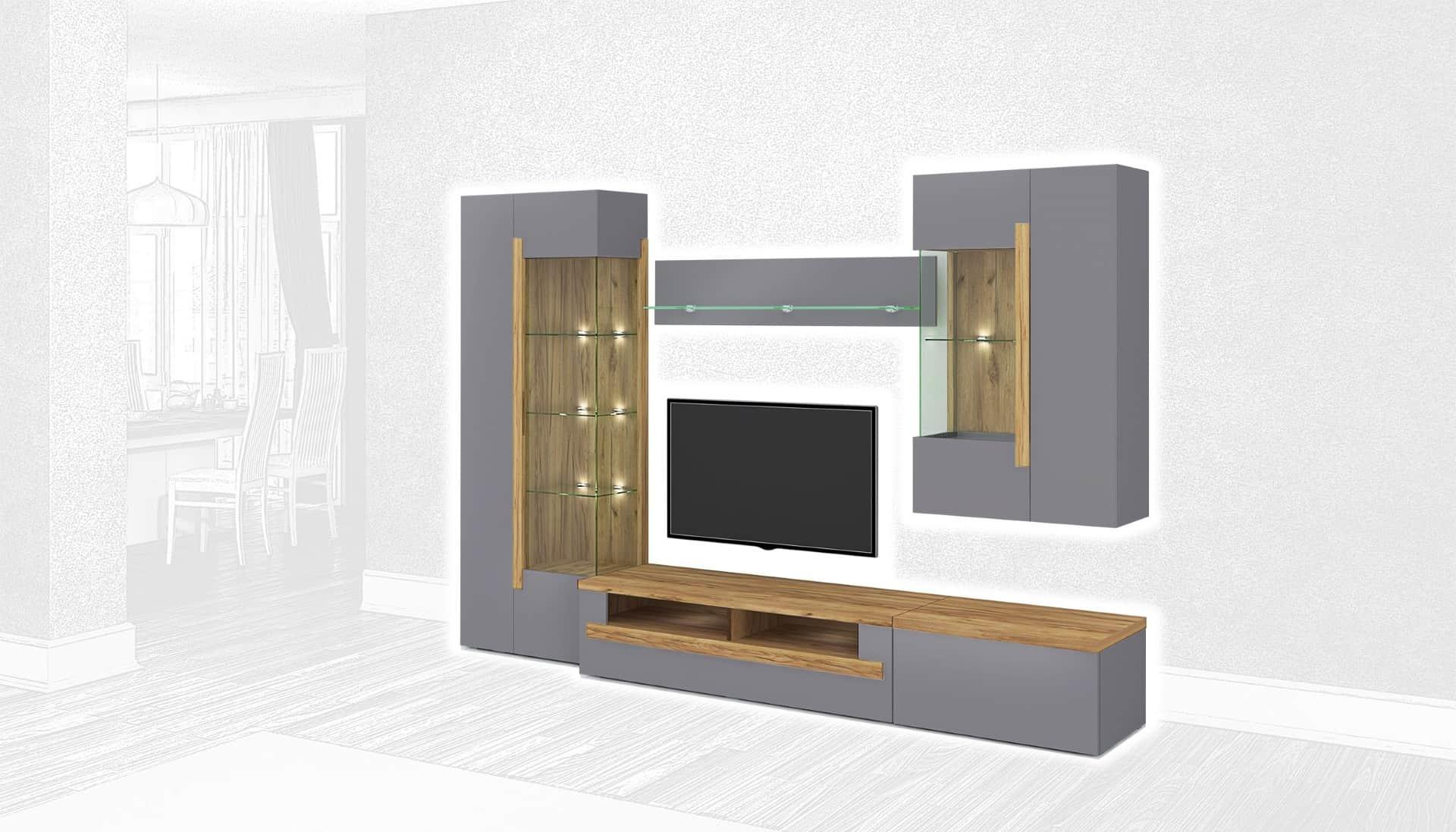 Стенка Интердизайн Дубай светло-коричневый/серый 1990x2900x500 (композиция 1)