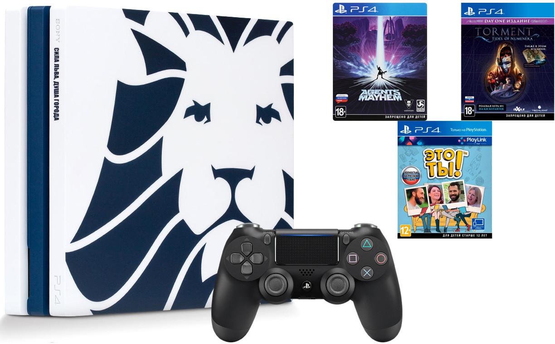 Игровая приставка Sony PlayStation 4 Pro 1Tb Зенит Сила Льва + Sony DualShock 4 v2 Black + 3 игры