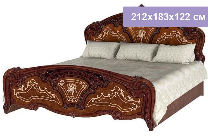 Двуспальная кровать Интердизайн Роза коричневый/коричневый 212x183x122 см (ортопедическое основание)
