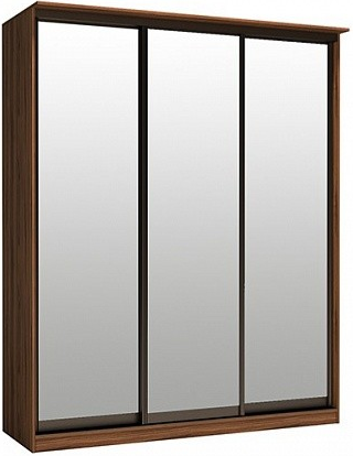 Шкаф-купе Цвет Диванов Тибр К-3 орех каннеро 188x44x234 см (трехдверный с зеркалом)