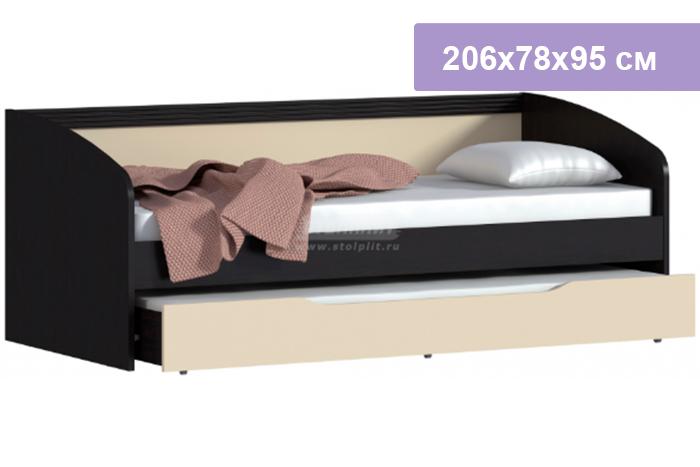 Односпальная кровать Столплит Дакота СБ-1905 венге/ваниль 206x78x95 см