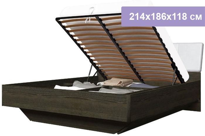 Двуспальная кровать Интердизайн Тоскано 32.08.0.AdW ясень темный/белый 214x186x118 см (подъемный механизм)