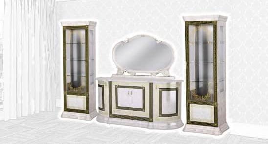 Стенка Интердизайн Версаль с зеркалом бежевый/бежевый 2129x3364x541 (композиция 3)