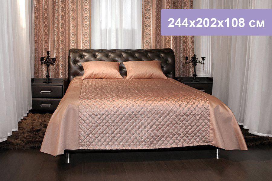 Двуспальная кровать Цвет Диванов Брисбен коричневый 244x202x108 см