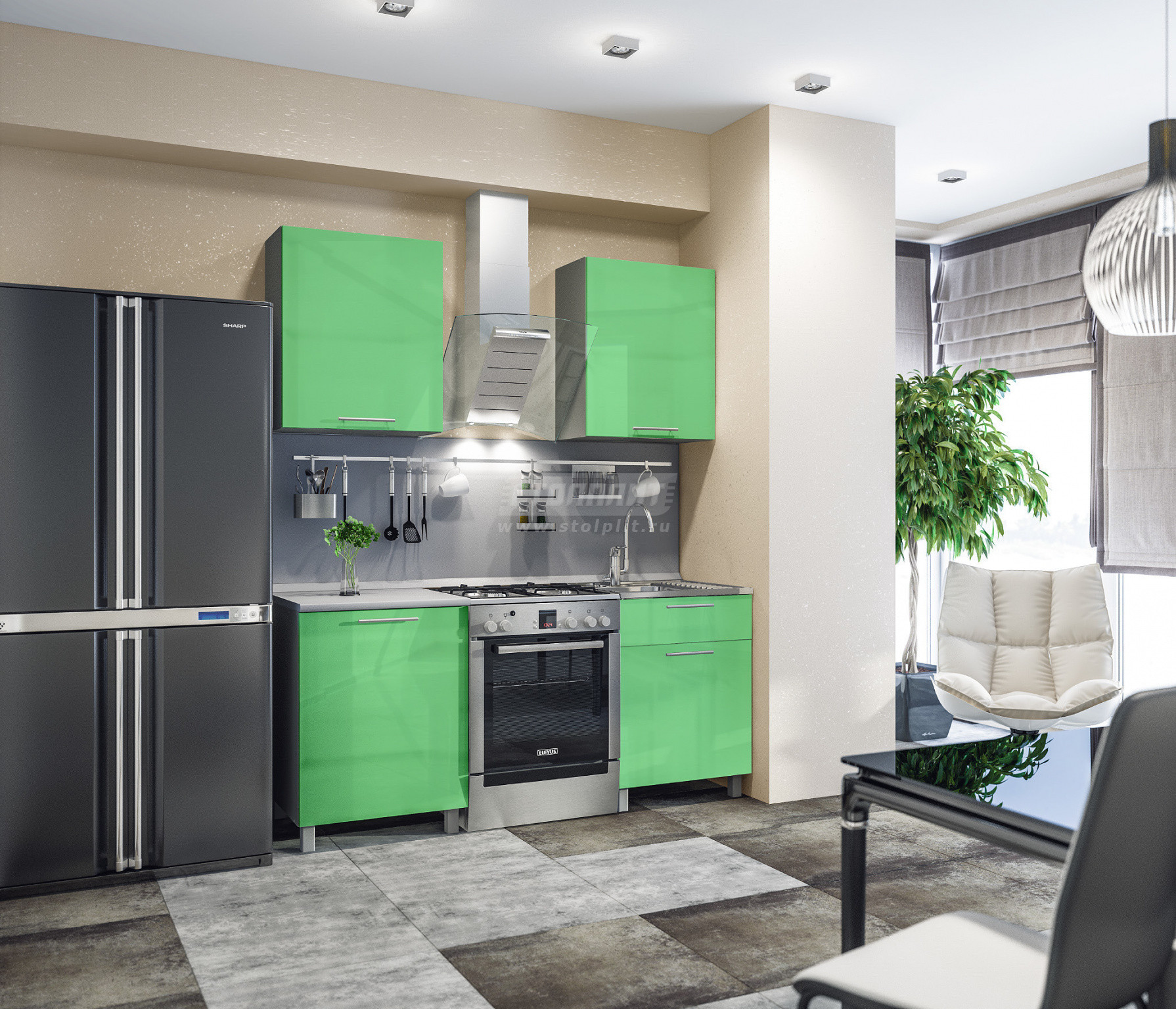 Кухня Столплит Анна L-1800 алюминий/эвкалипт глянец/серебро 120x214x60 см