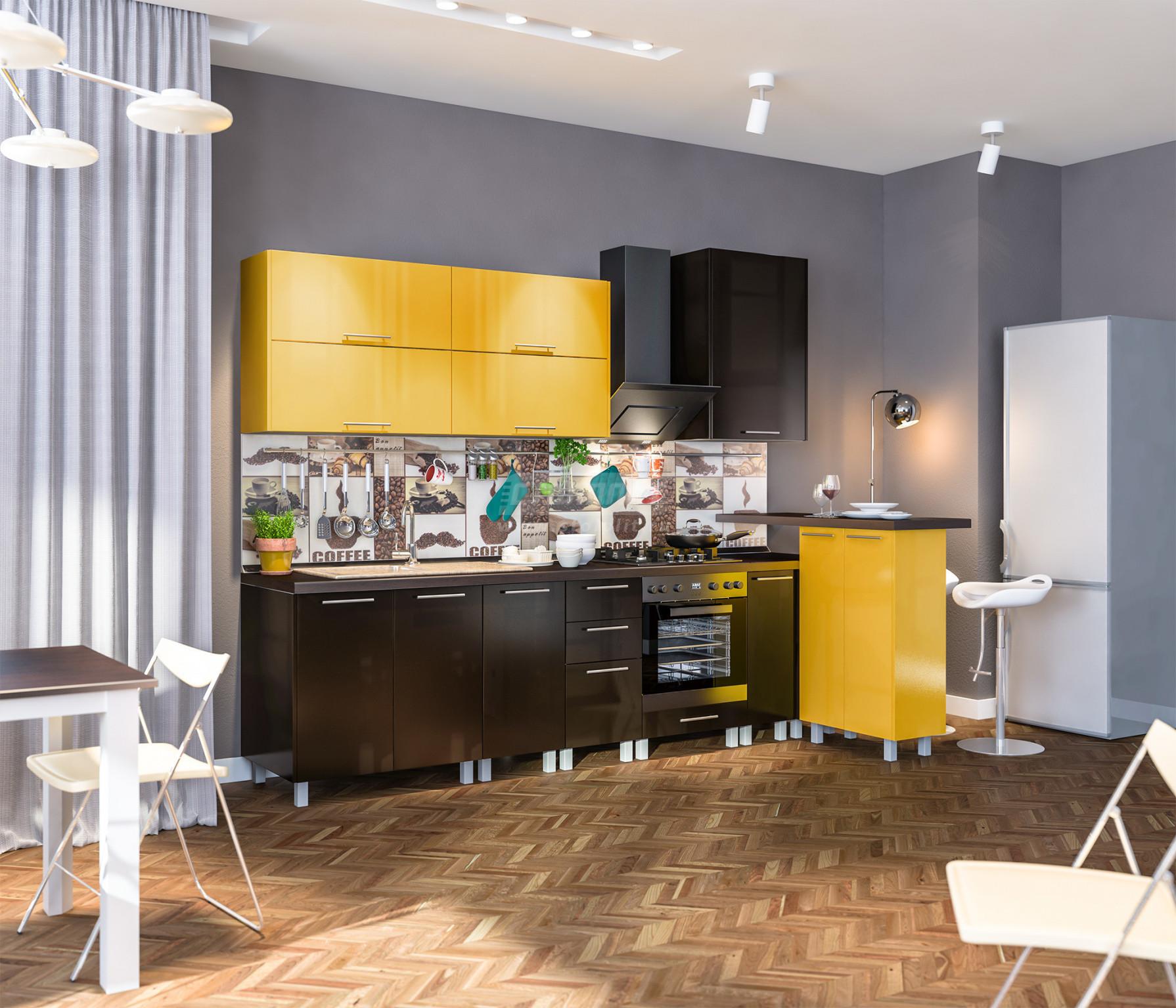 Кухня Столплит Анна L-2800 желтый/шоколад