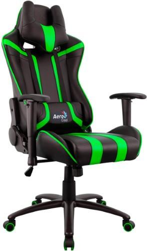 Игровое кресло Aerocool AC120 AIR-BG черный/зеленый