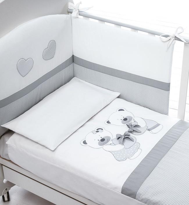 Постельное белье Baby Expert Bon Bon белый/серый (с одеялом)