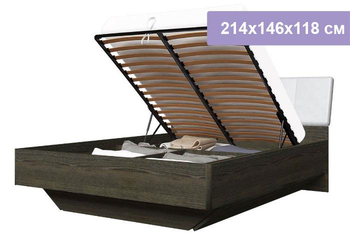 Двуспальная кровать Интердизайн Тоскано ясень темный/белый 214x146x118 см (подъемный механизм)